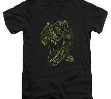 Parque jurásico dinosaurios acción película Spielberg Rex para adultos camiseta de cuello en V Tee
