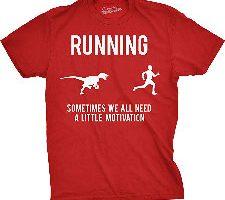 Crazy Dog Tshirts Mens Running Raptor T Shirt Funny Dinosaur