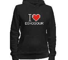 Idakoos I love Dinosour pixelated Dinosaurios Sudadera con capucha para mujer