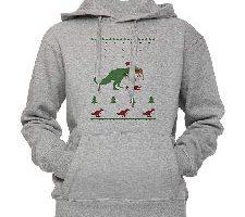 Dinosaurio Sudadera con Capucha Pullover Gris Tamaños Unisex
