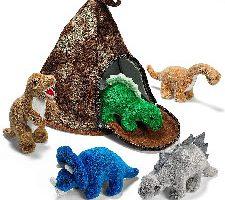 Prextex Casa Volcán de Dinosaurio con 5 Dinosaurios de Peluche